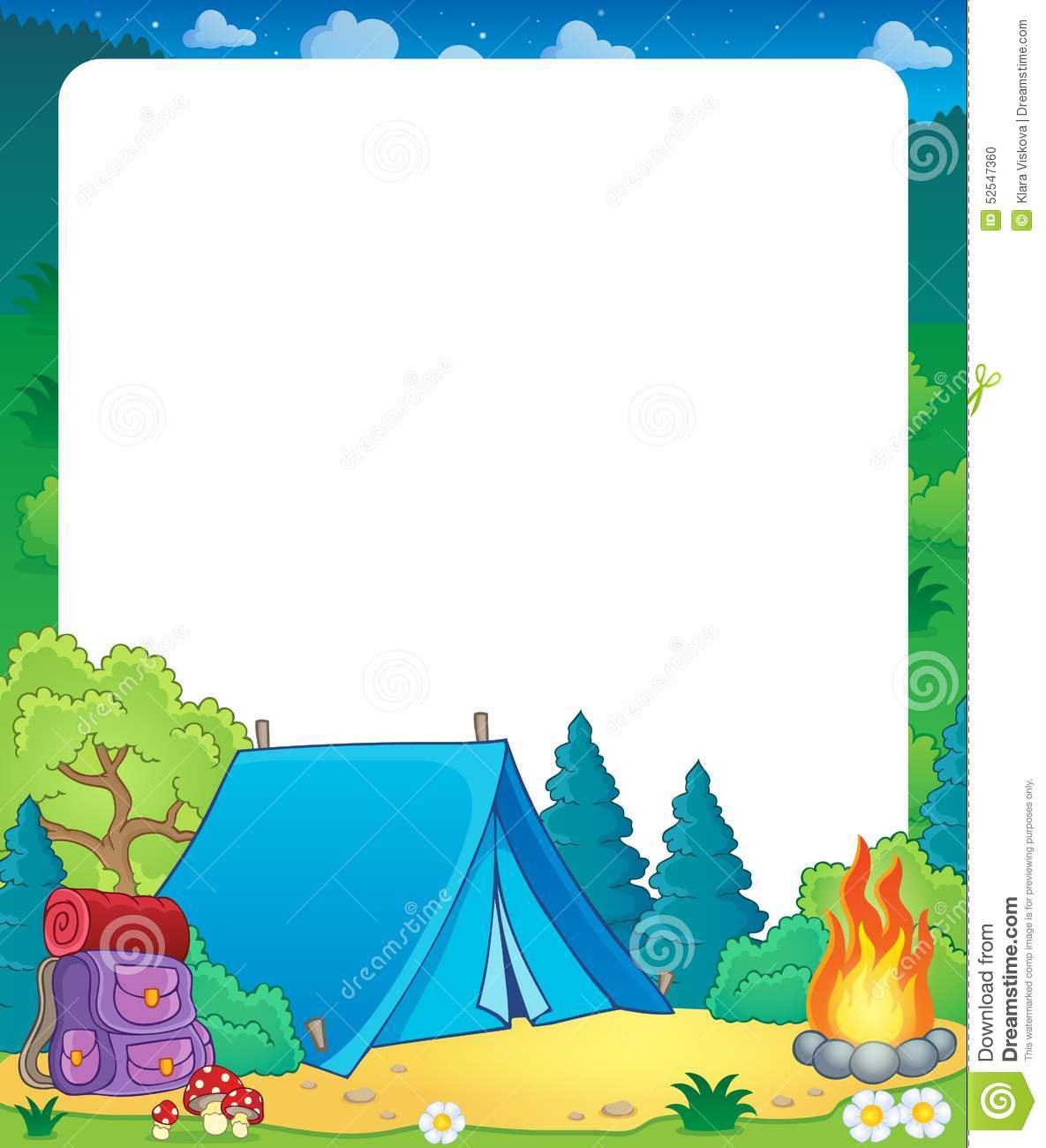 Summer Frame With Camp Site Theme Stock Vector - Image: 52547360