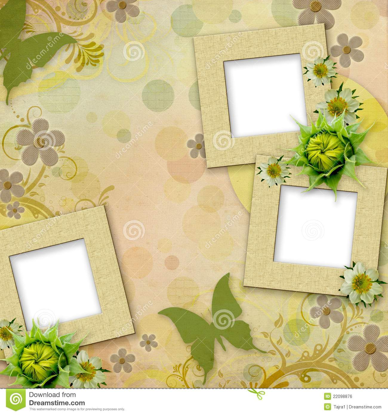 summer frames with green butterfly  flowers stock