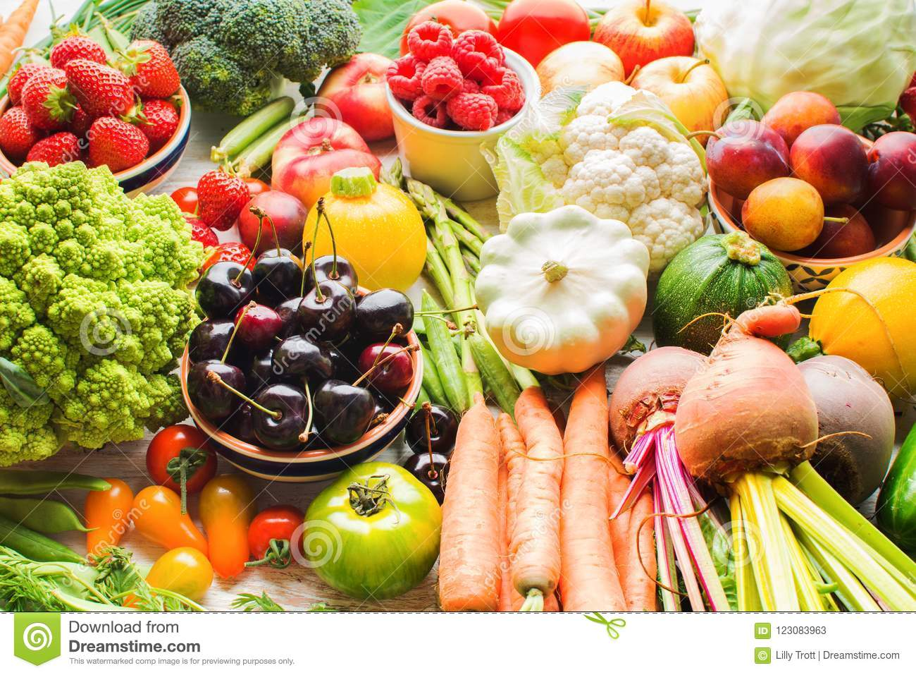 Lots Of Summer Fruits Vegetables Berries, Apples Cherries Peaches  Strawberries Cabbage Broccoli Cauliflower Squash Tomatoes Carrots Spring  Onions Beans ...