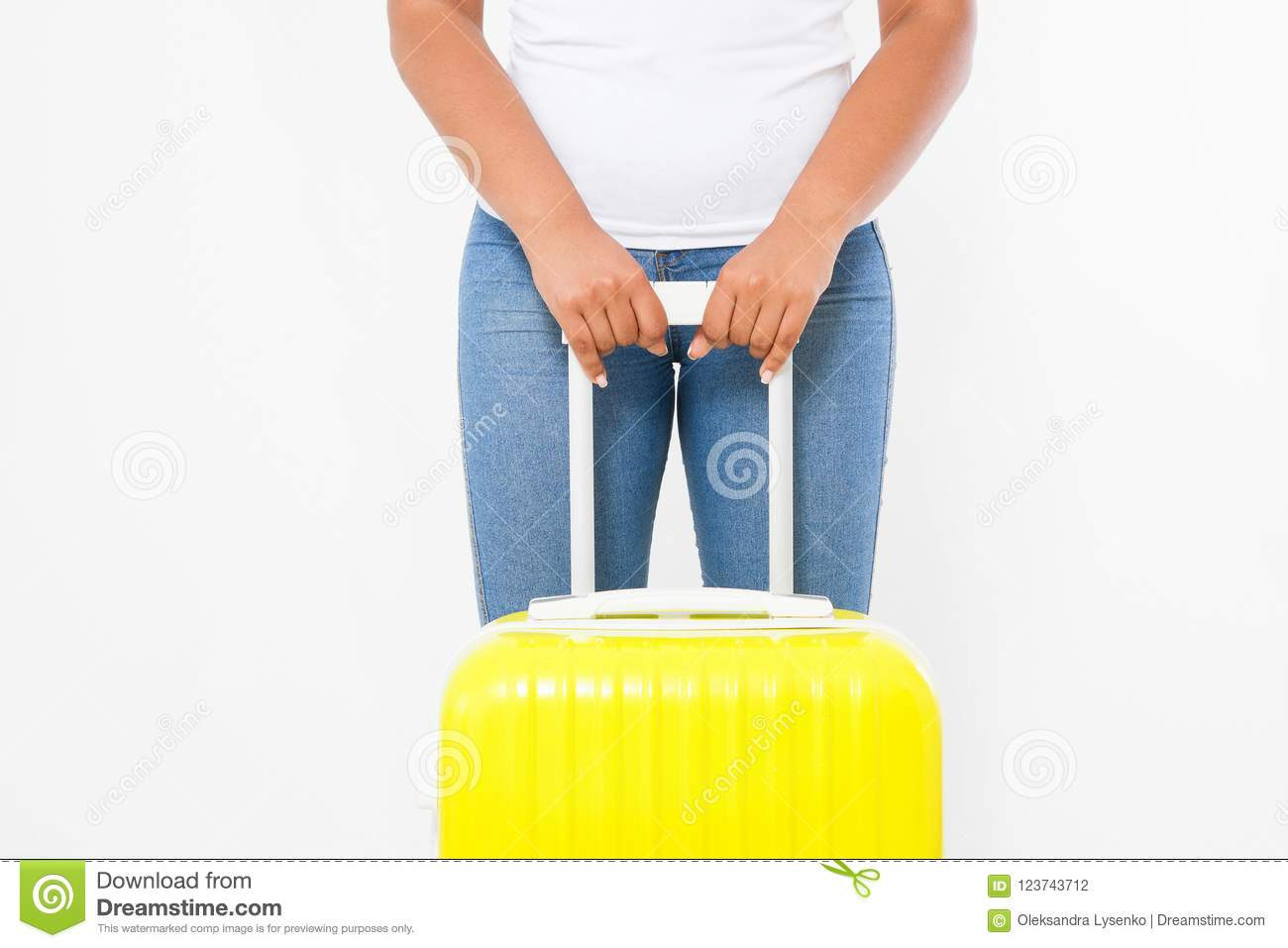 Summer fun holiday. Afro american woman with yellow suitcase isolated on white template and blank background. Work and travel.