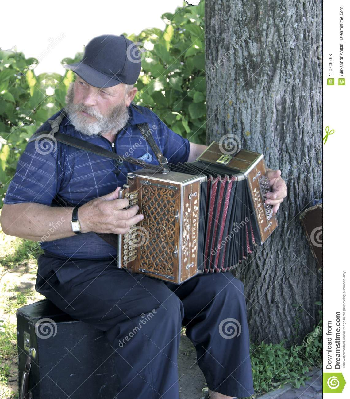 Cheerful Russian Accordion Player At The Tree Editorial Stock Photo