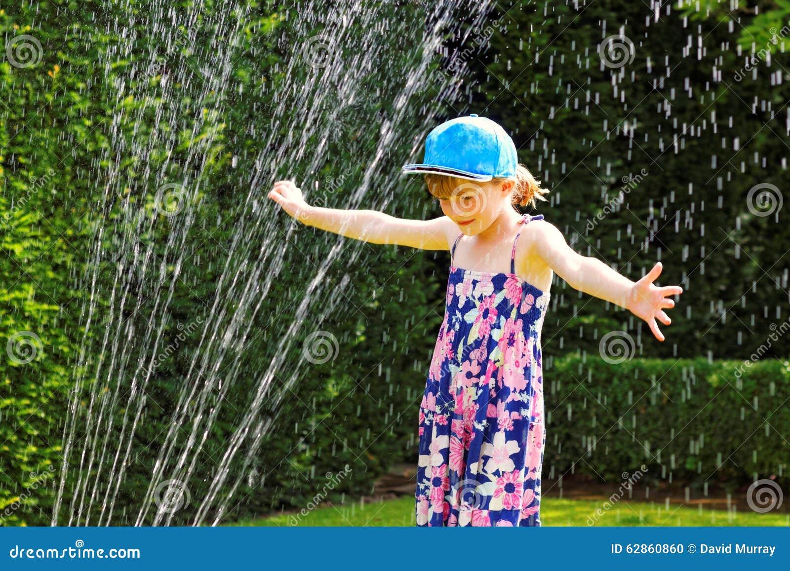 Summer fun with water sprinkler