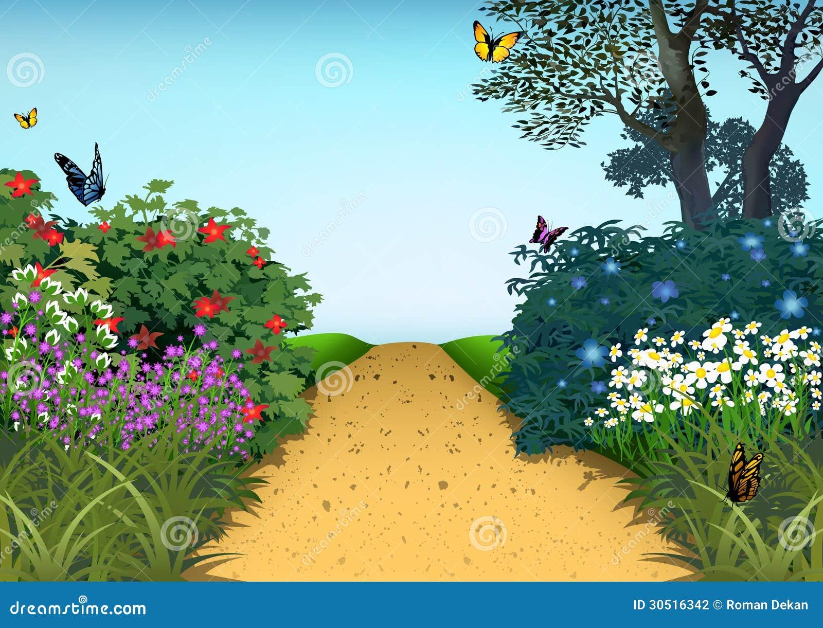 Backyard Summer Background : Summer Garden  Cartoon Background Illustration, Vector