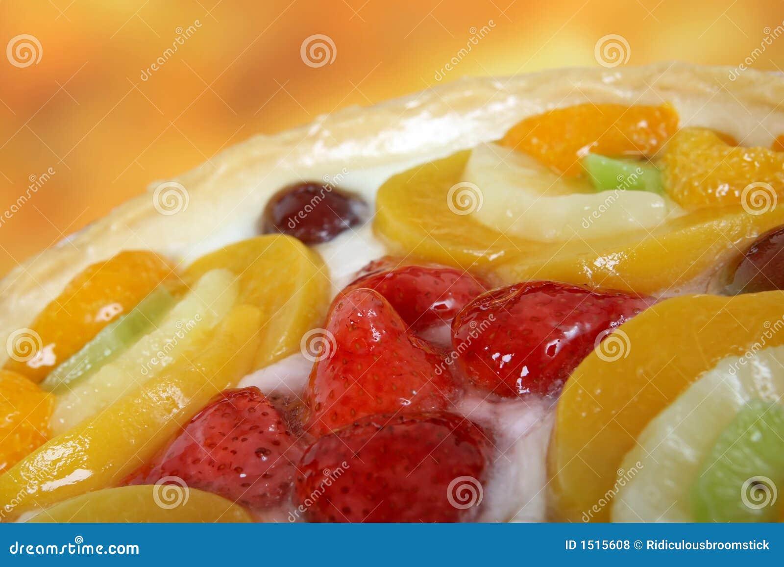 Summer garden fruits in a sweet glazed cream pie dessert