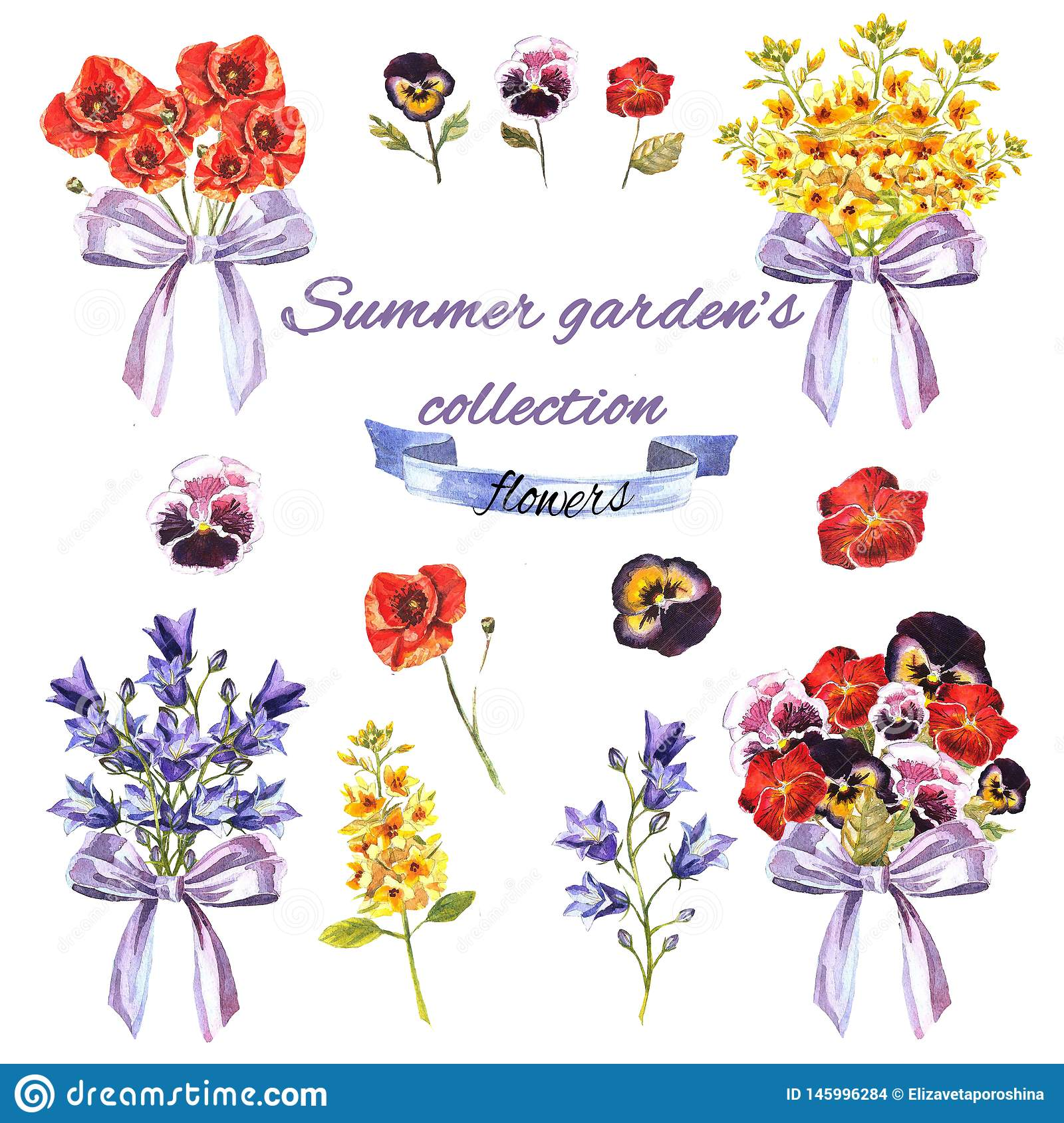 Summer garden`s set with flowers and bouquets