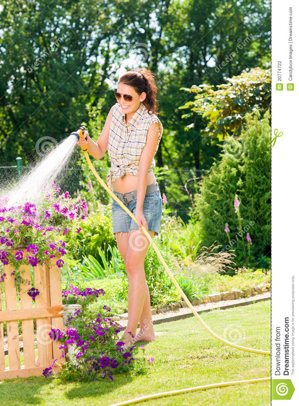 Summer Garden Smiling Woman Watering Hose Flower Stock Photo   Image Of  Happy, Care: 20774722