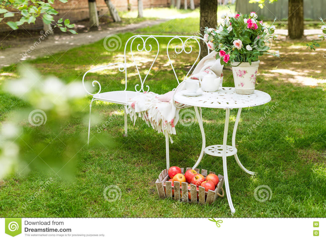 Summer Garden With Tea Party Setting Outdoor Decorations Stock