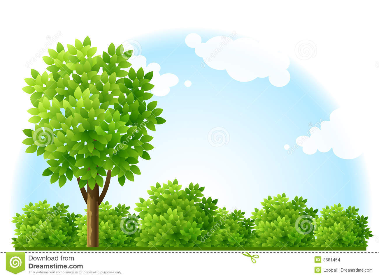 Summer garden with tree and green bushes stock for Arbustos de jardin nombres