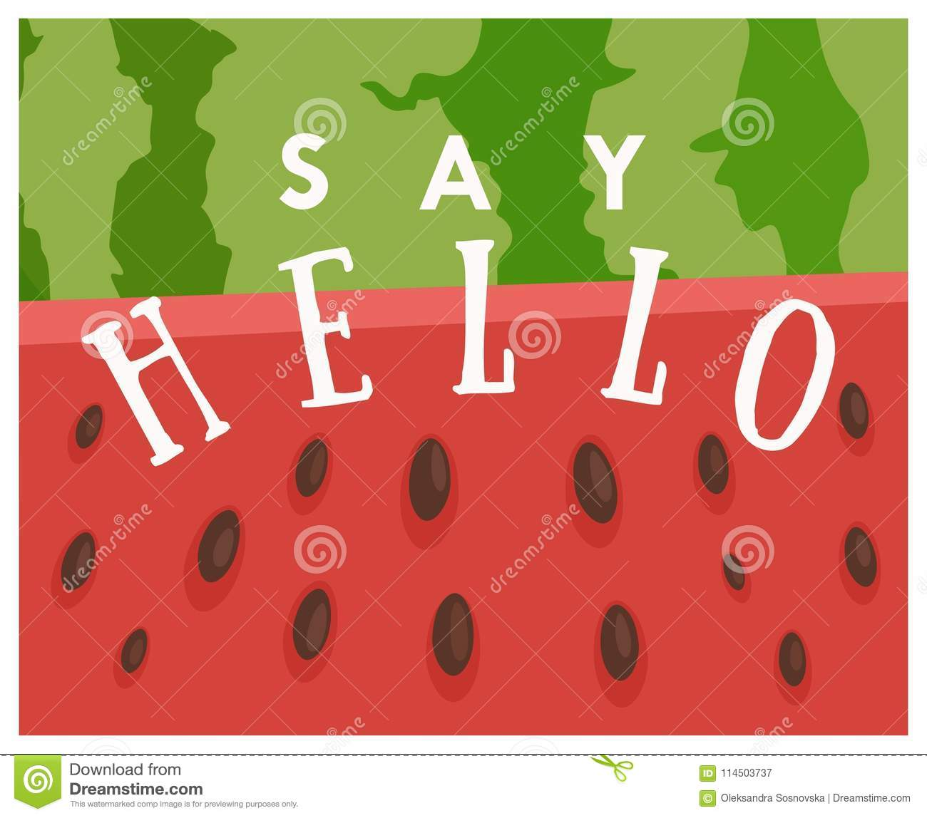 Summer Greeting Card With Watermelon Background Say Hello Vector