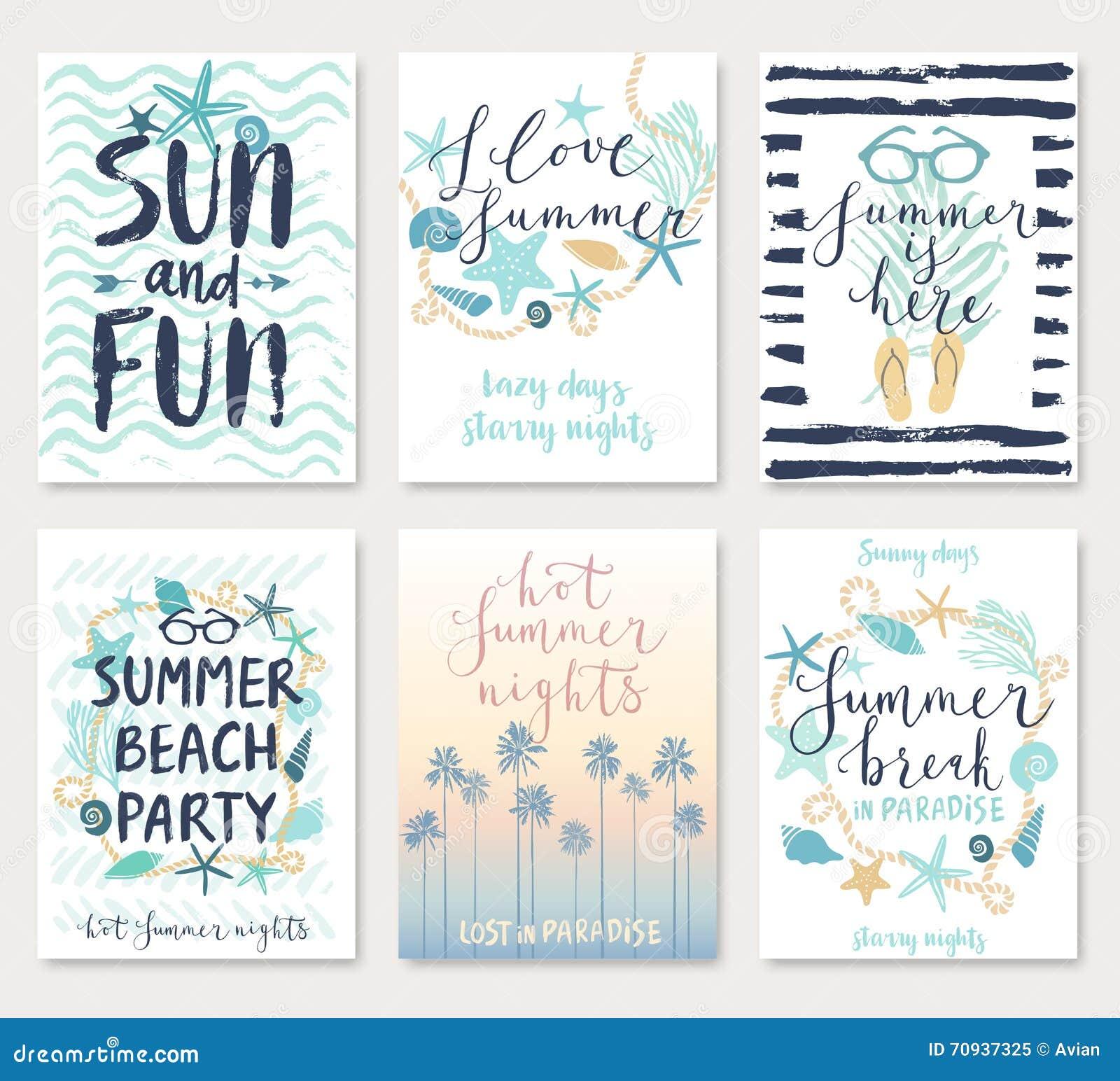 Summer hand drawn calligraphyc card set.