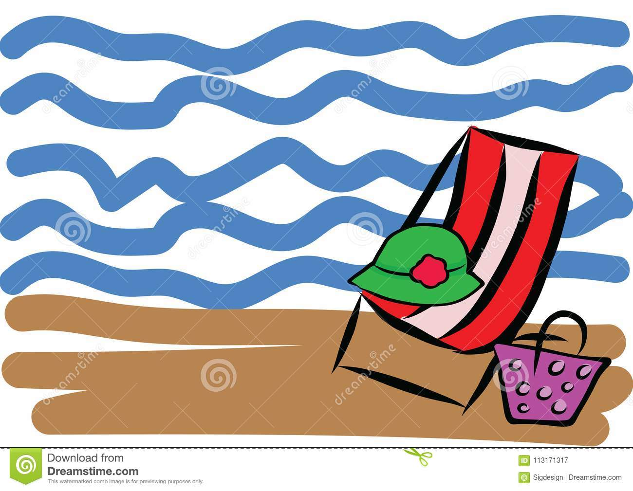 hand drawn summer beach vacation color illustration stock vector