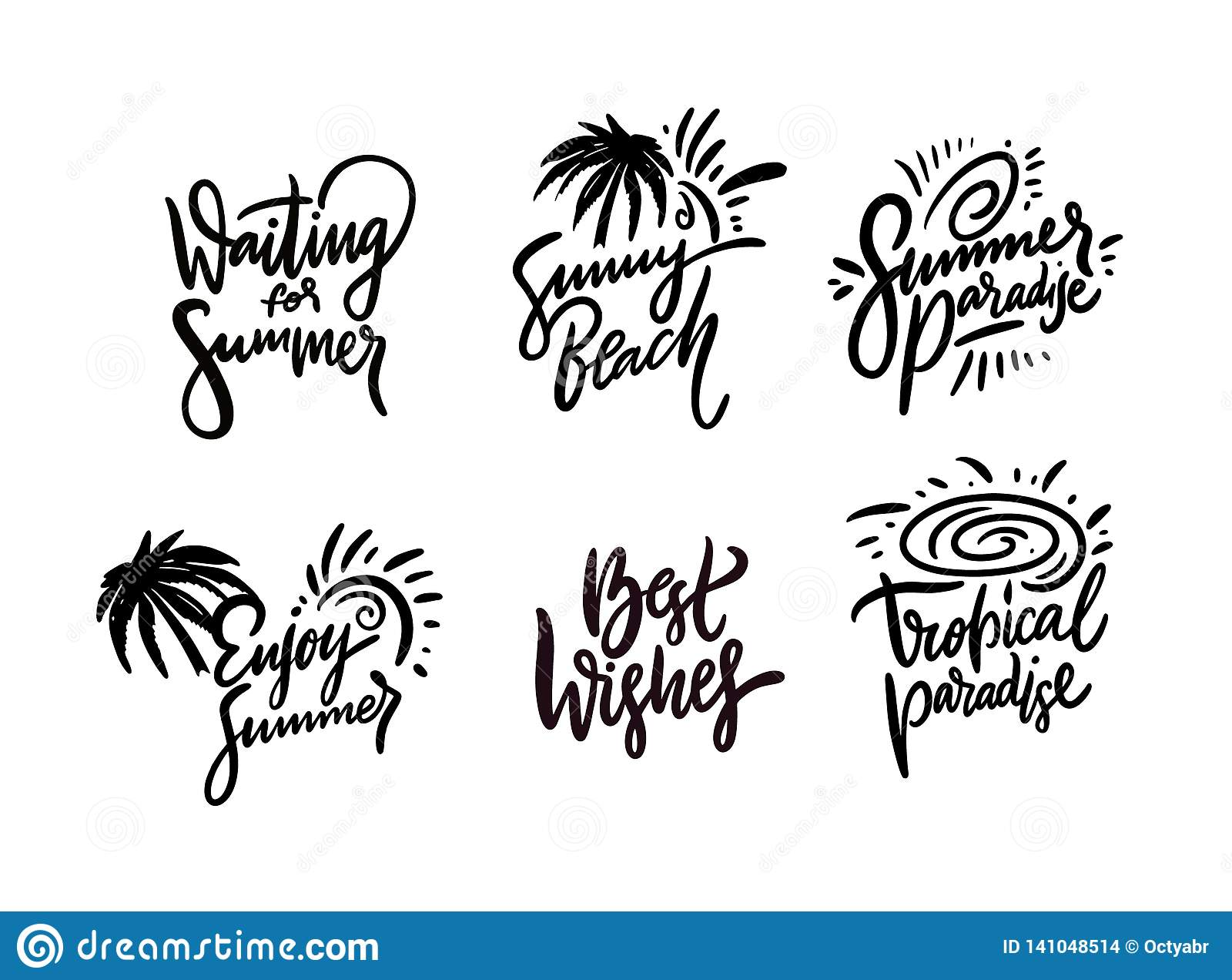 Summer Hand Drawn Vector Lettering Quotes Set. Good Vibes ...