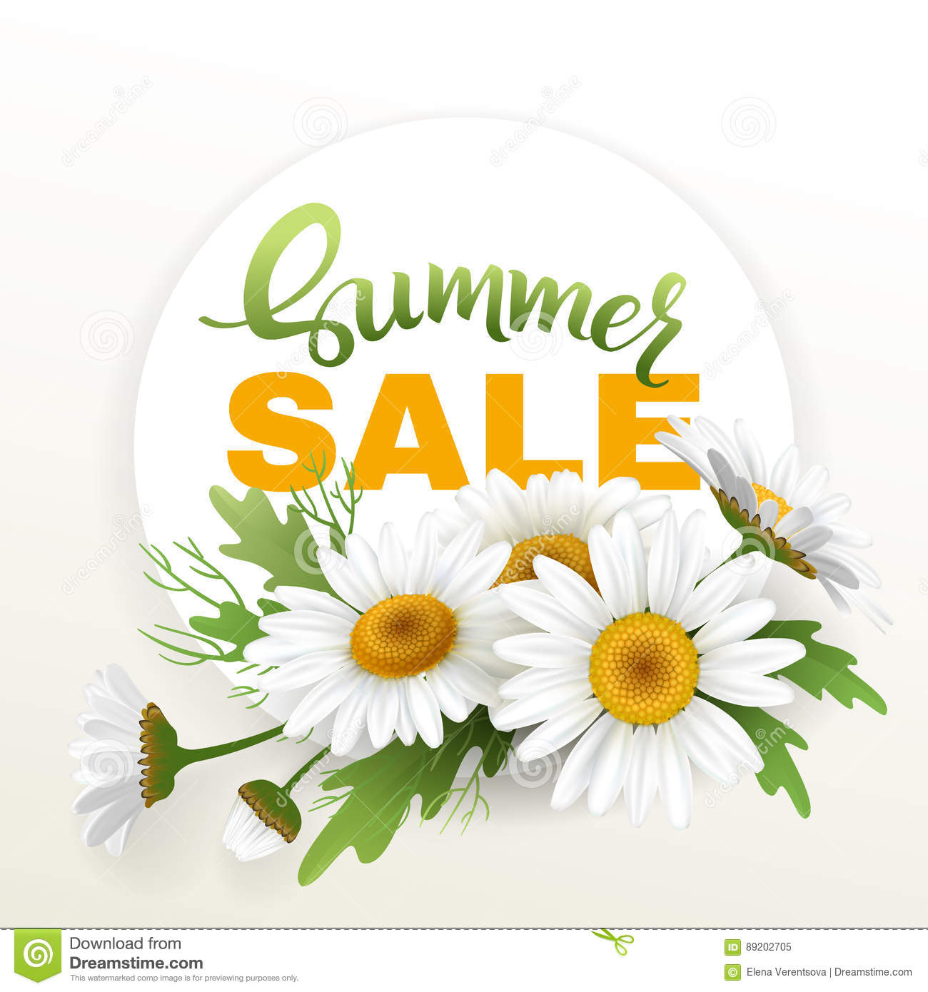 Summer handmade lettering and bouquet realistic daisy camomile summer handmade lettering and bouquet realistic daisy camomile flowers on white background sale composition vector izmirmasajfo Images