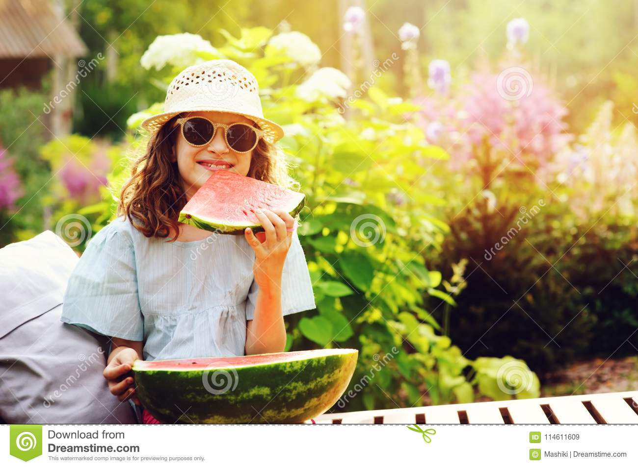 42cce6e58 Summer Happy Child Girl Eating Watermelon Outdoor On Vacation Stock ...