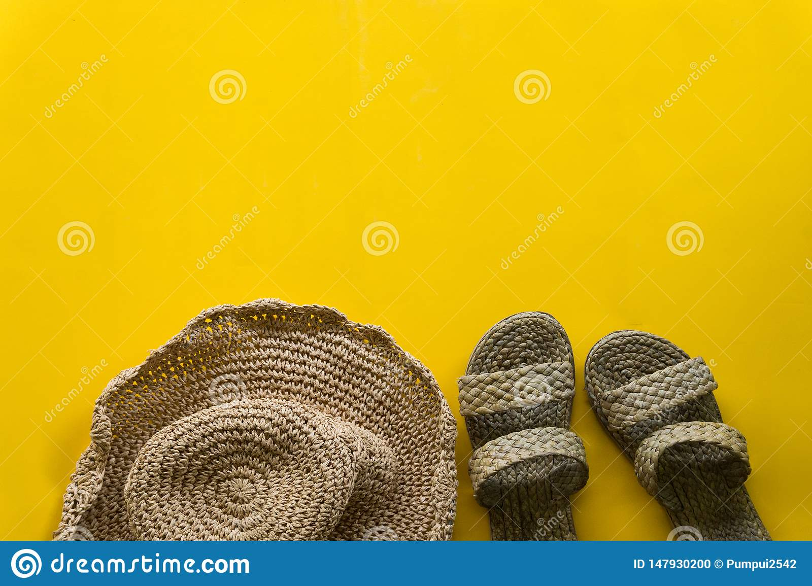 Summer hat weave and sandal weave with yellow background