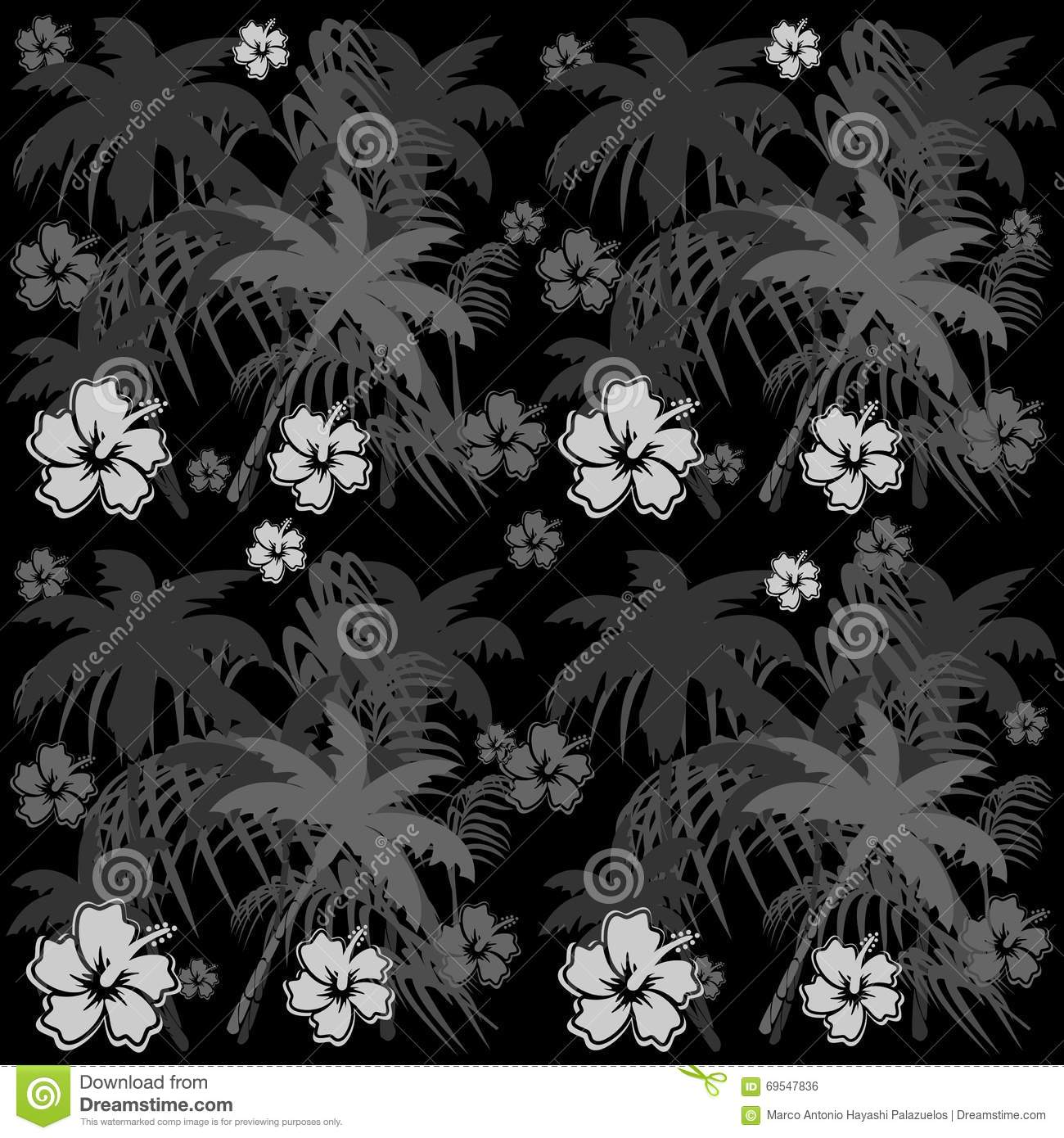 Summer Hawaiian Flowers Pattern Background Stock Vector