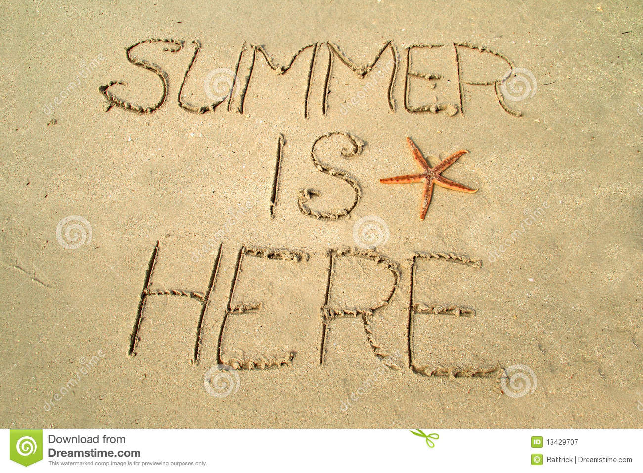 Summer is here stock image. Image of here, written, beach - 18429707
