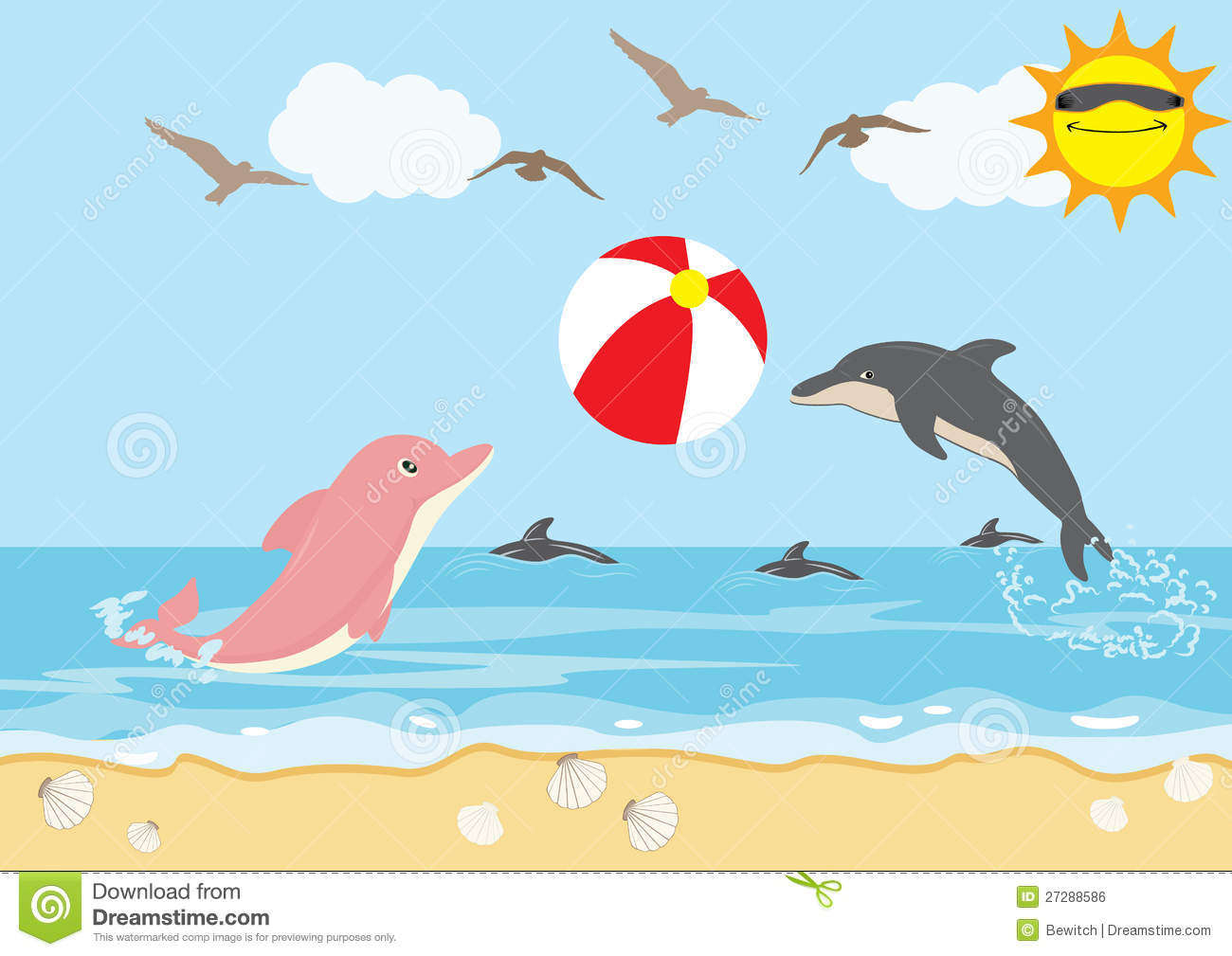 Summer Holiday With Dolphins Play Ball Beach Royalty Free Stock Image Image 27288586