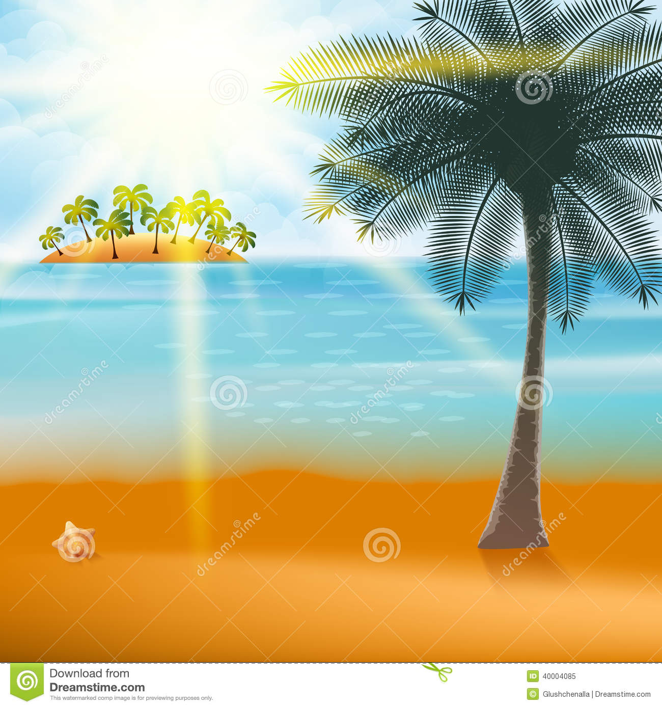 summer holiday flyer design with palm trees  stock vector