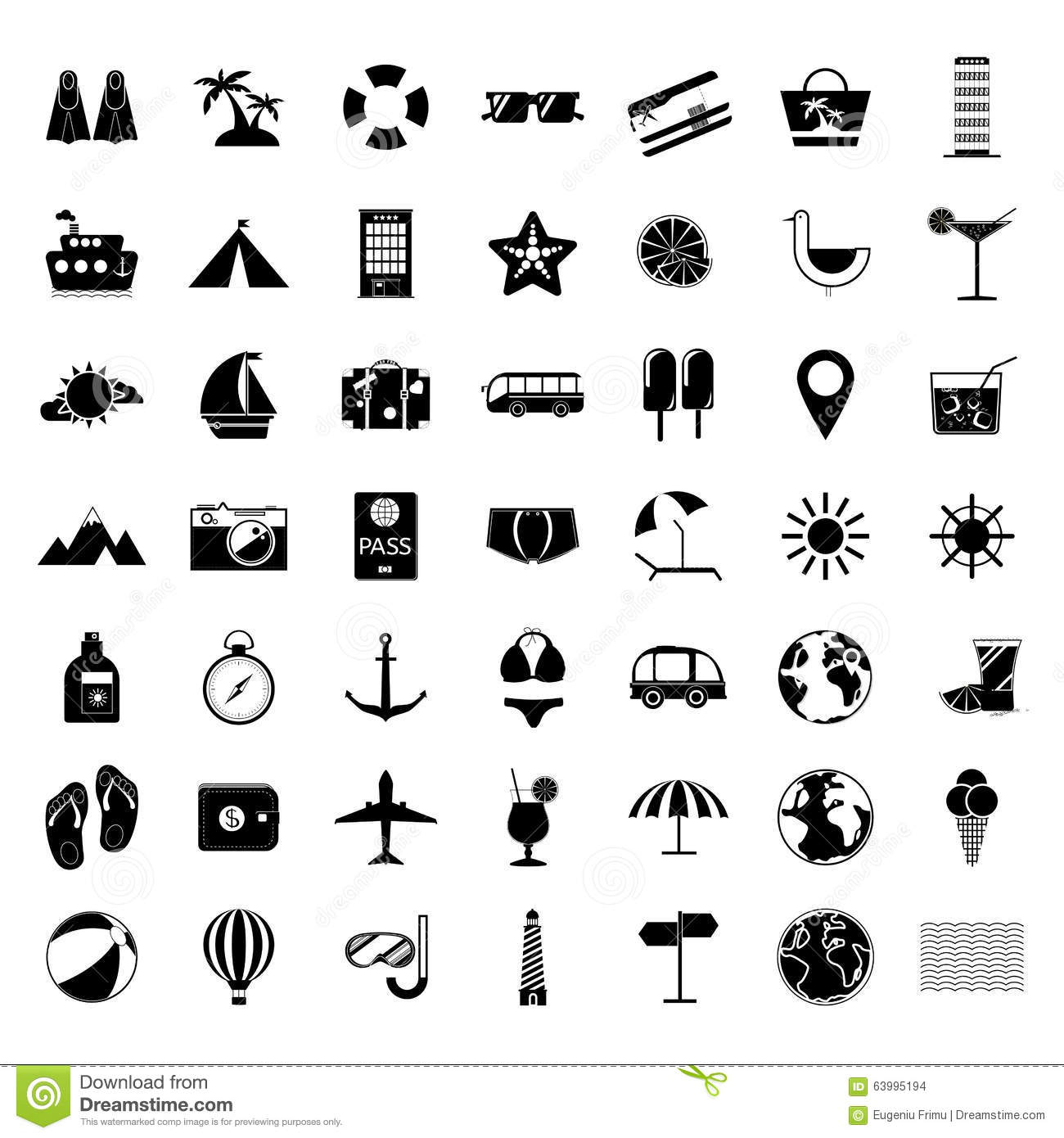 Summer Holiday Icon Set Stock Vector Image 63995194