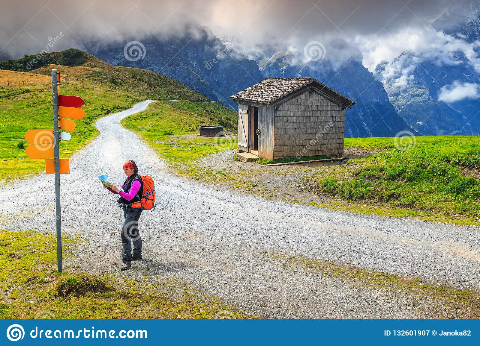 Picture of: Mountain Hiking Trails And Hiker Woman With Map Switzerland Europe Stock Image Image Of Orientate Explorer 132601907