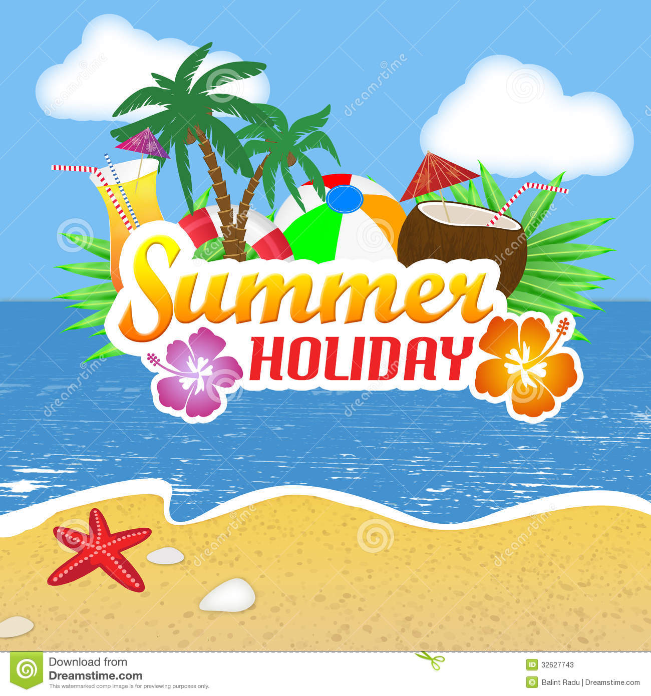 Summer Holiday Poster Stock Photos Image 32627743