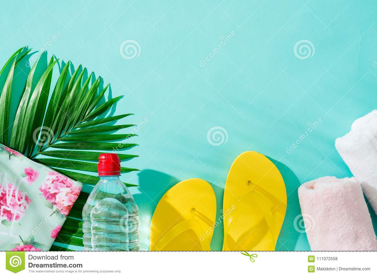 Summer holiday. Vacation background with beach accessories.