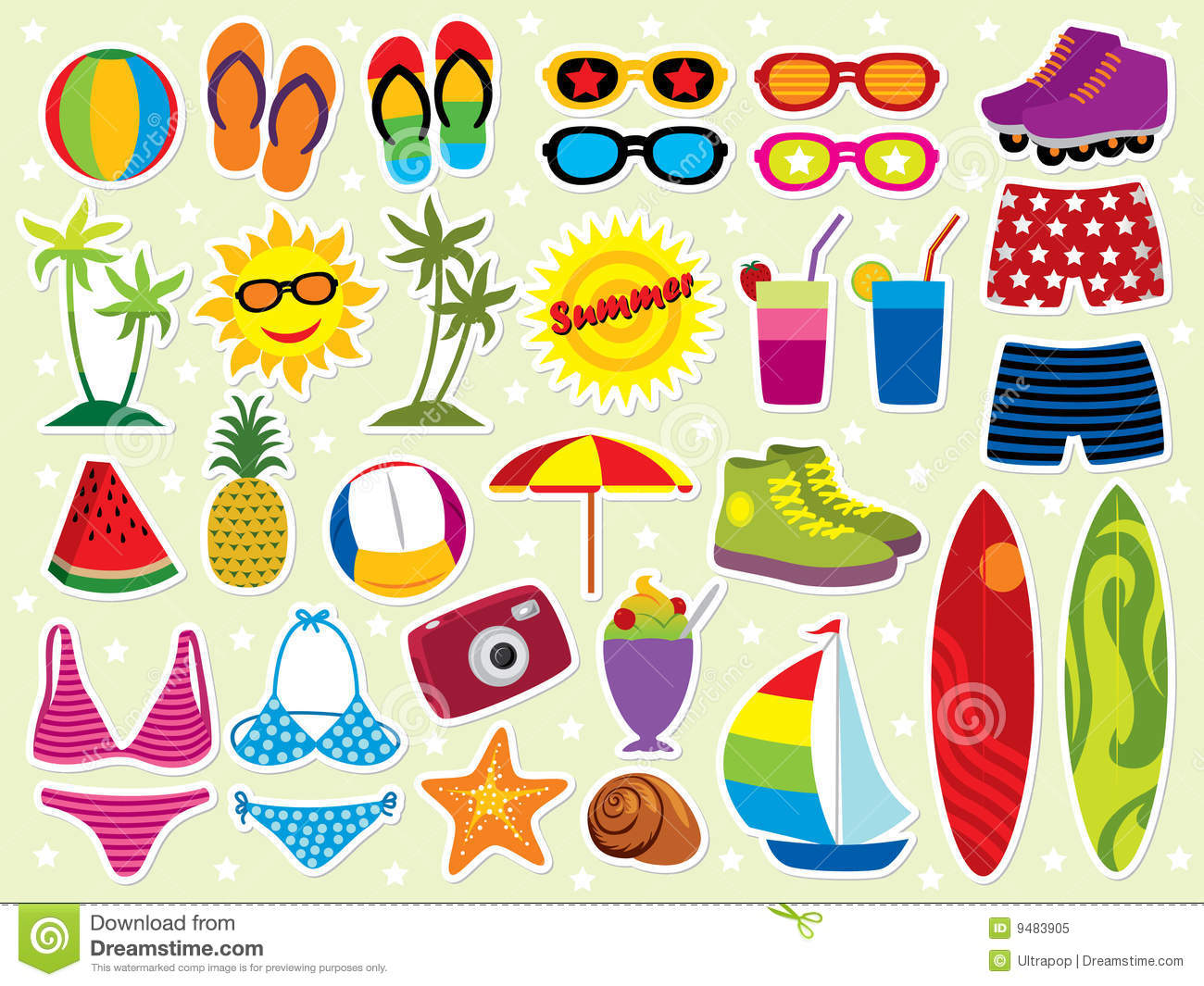 Summer holidays icon set. Please visit my portfolio for more summer