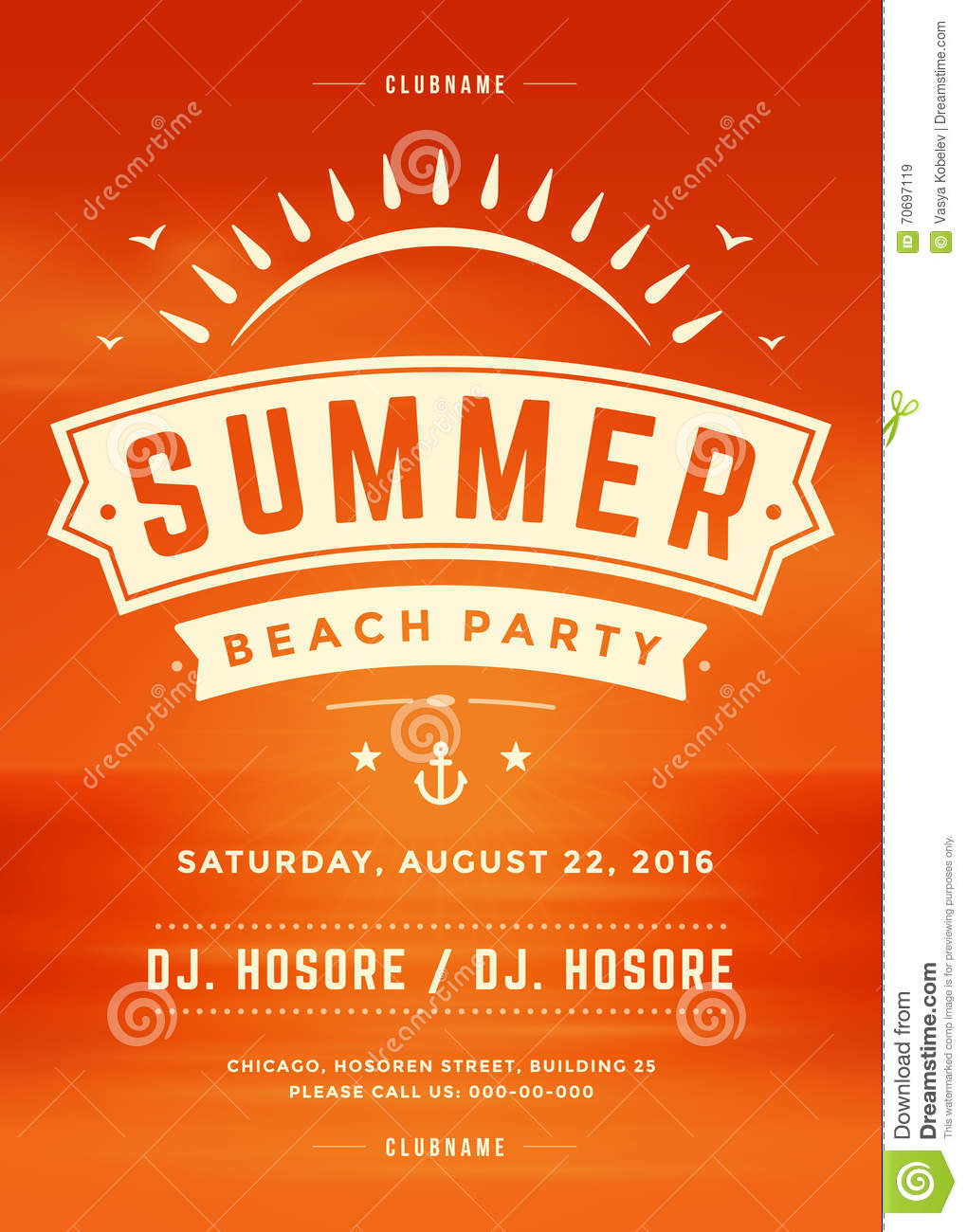 summer holidays beach party typography poster or flyer