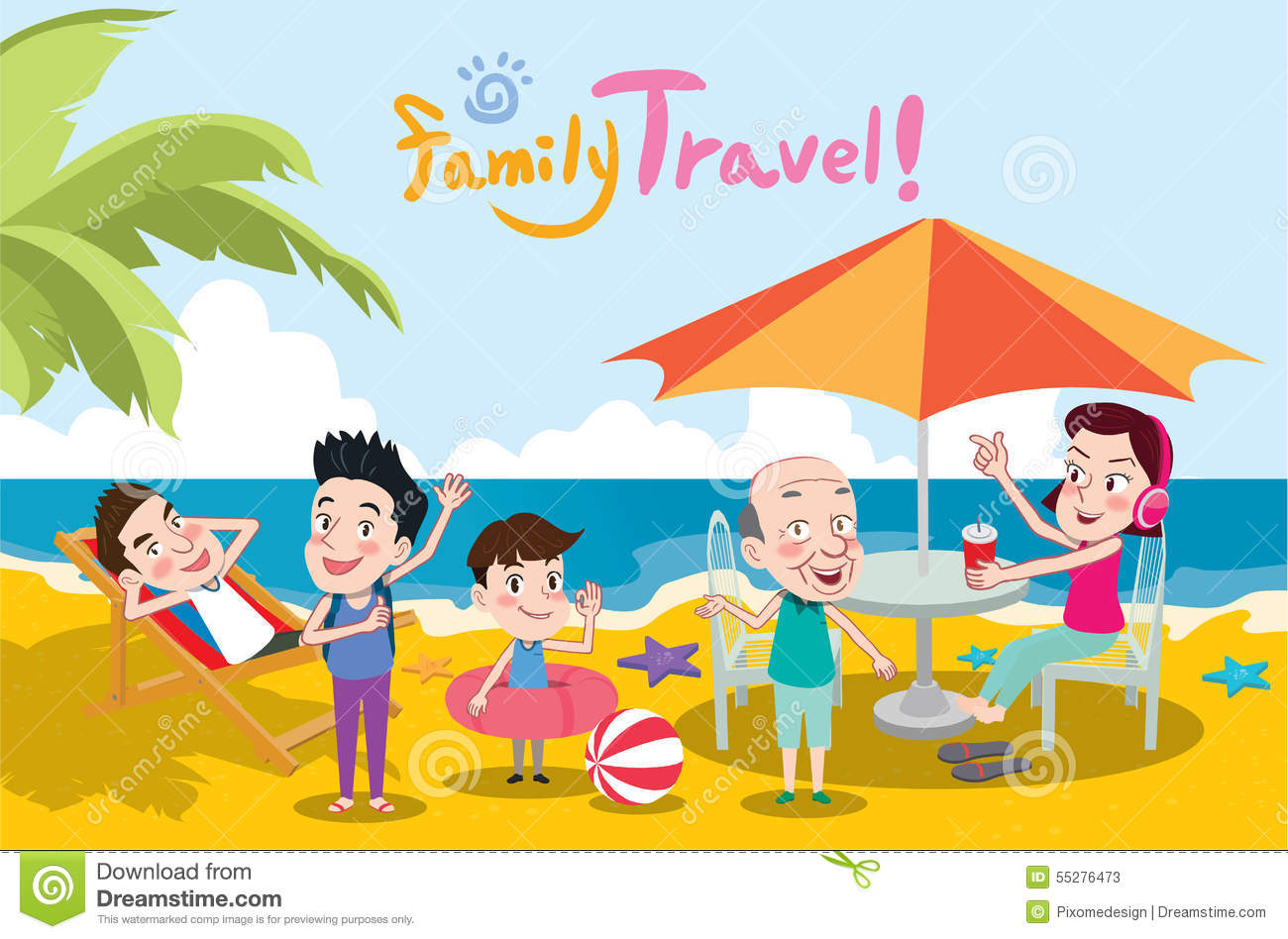 Summer Holidays Illustrationflat Design Family Travel And Beach Concept