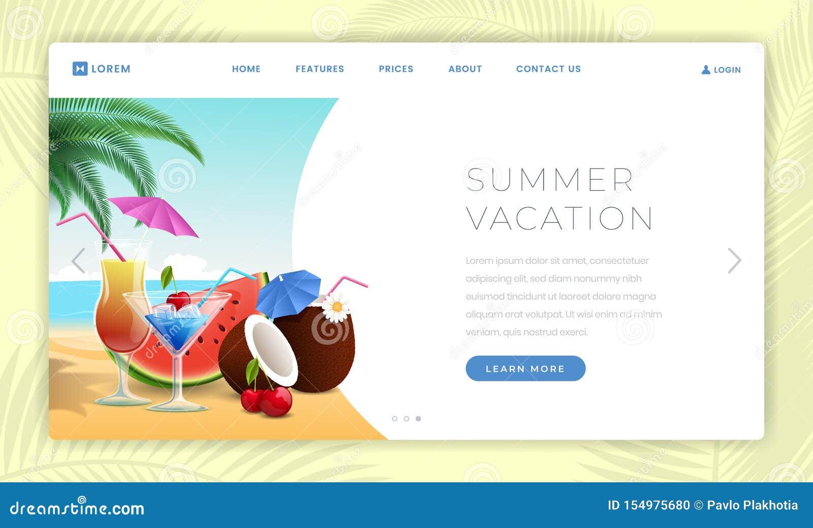 Summer Holidays Landing Page Template Summertime Desserts Watermelon Slice Exotic Coconut Cocktails Seaside Resort Stock Vector Illustration Of Restaurant Pina 154975680