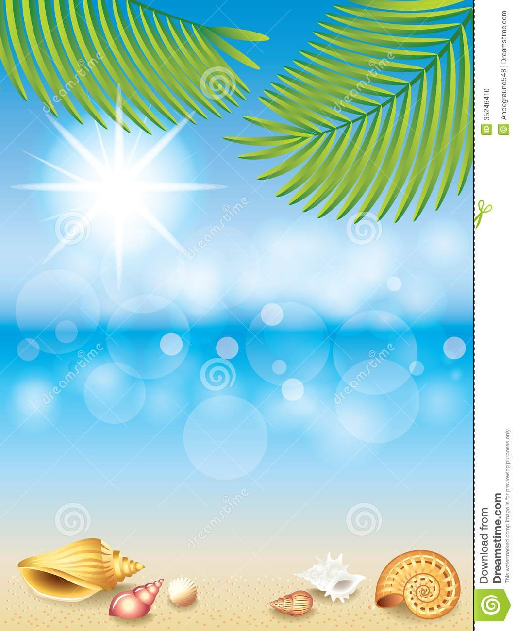 Summer Holidays Vector Background Stock Photo Image