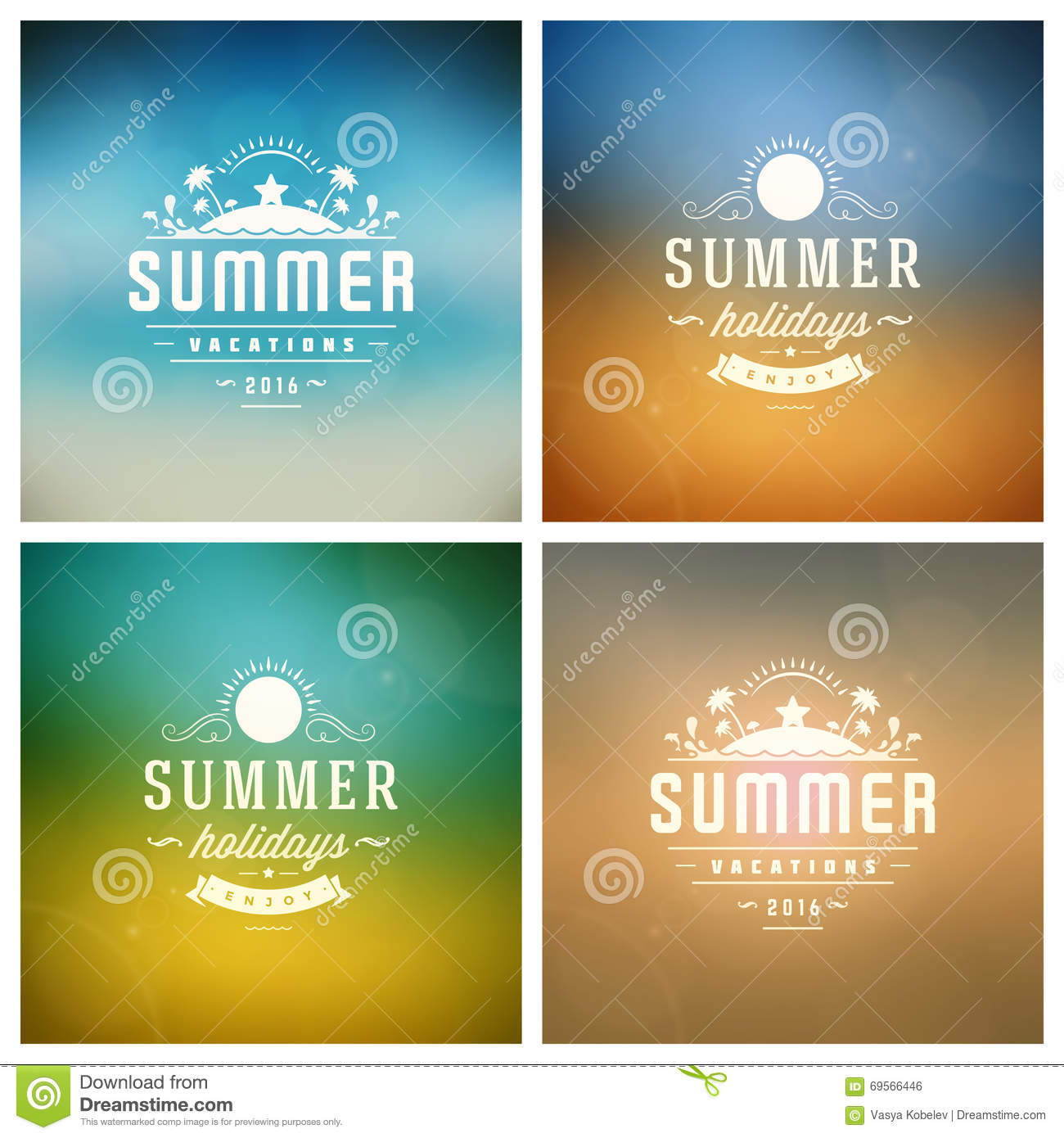 Summer holidays vector retro typography set messages and download comp m4hsunfo