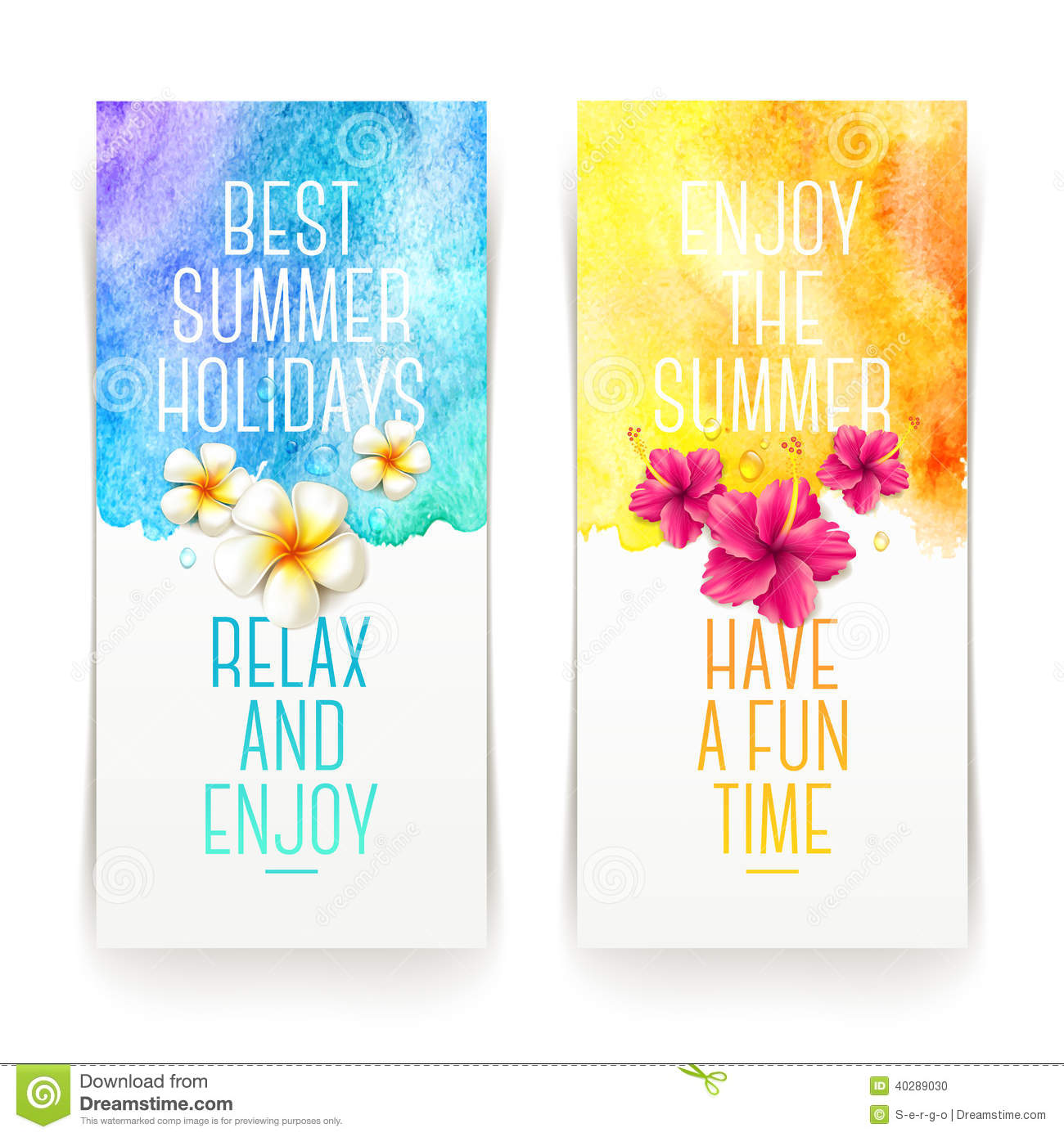 Summer holidays watercolor banners stock vector illustration of summer holidays watercolor banners m4hsunfo