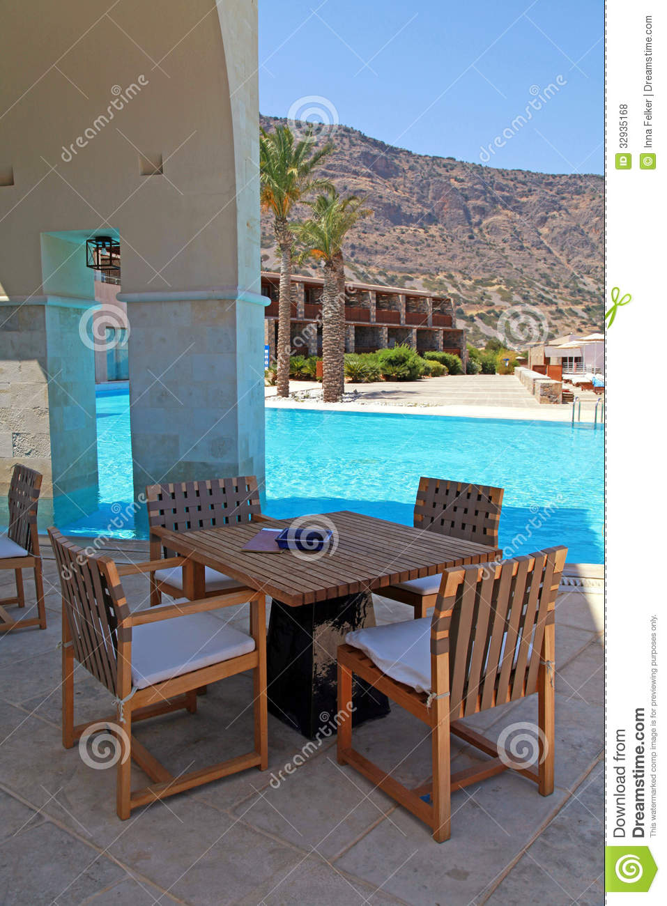 Summer Hotel Terrace With Pool And Outdoor Furniture(Greece) Royalty Free Stock Photos - Image ...