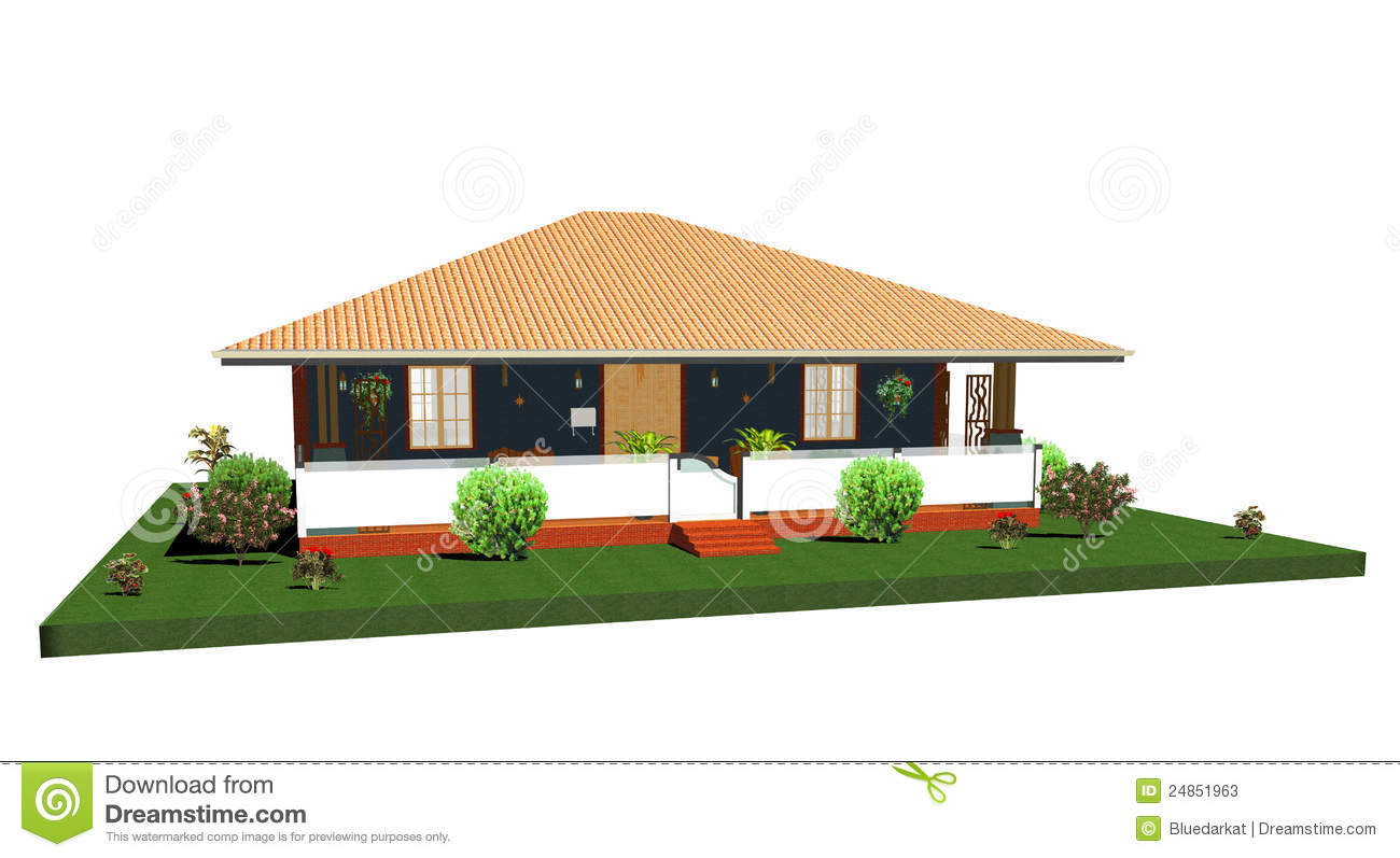 Summer House Bungalow With Porch 3d Stock Illustration