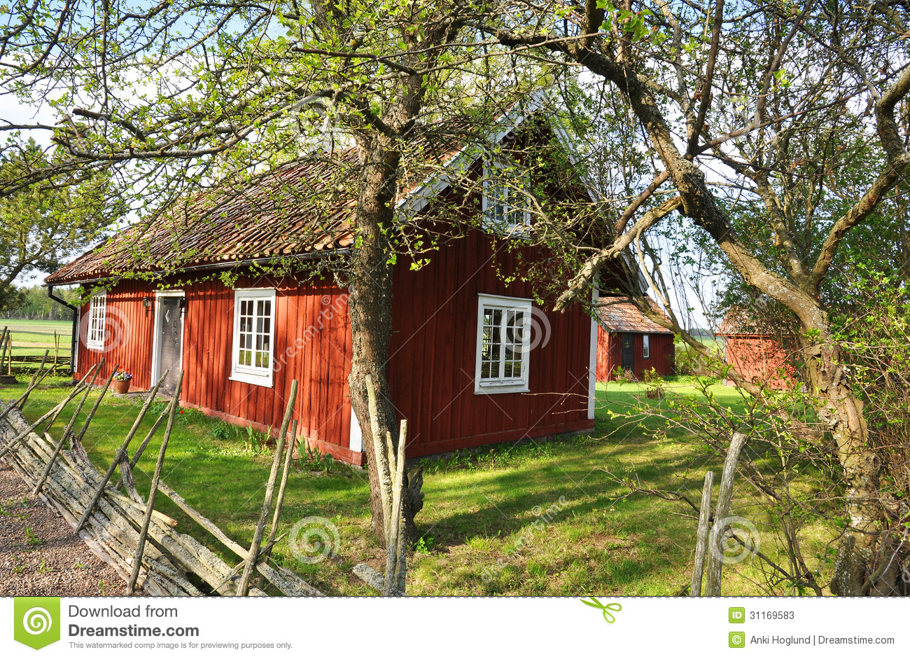 Summer house in sweden stock image image of nordic blue for Red cottage