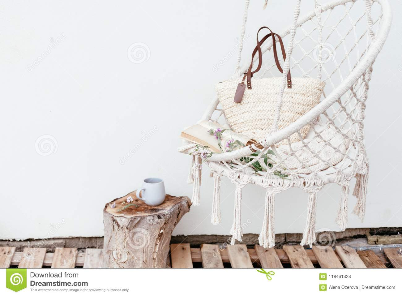 Summer Hygge Concept With Hammock Chair In The Garden Stock Image