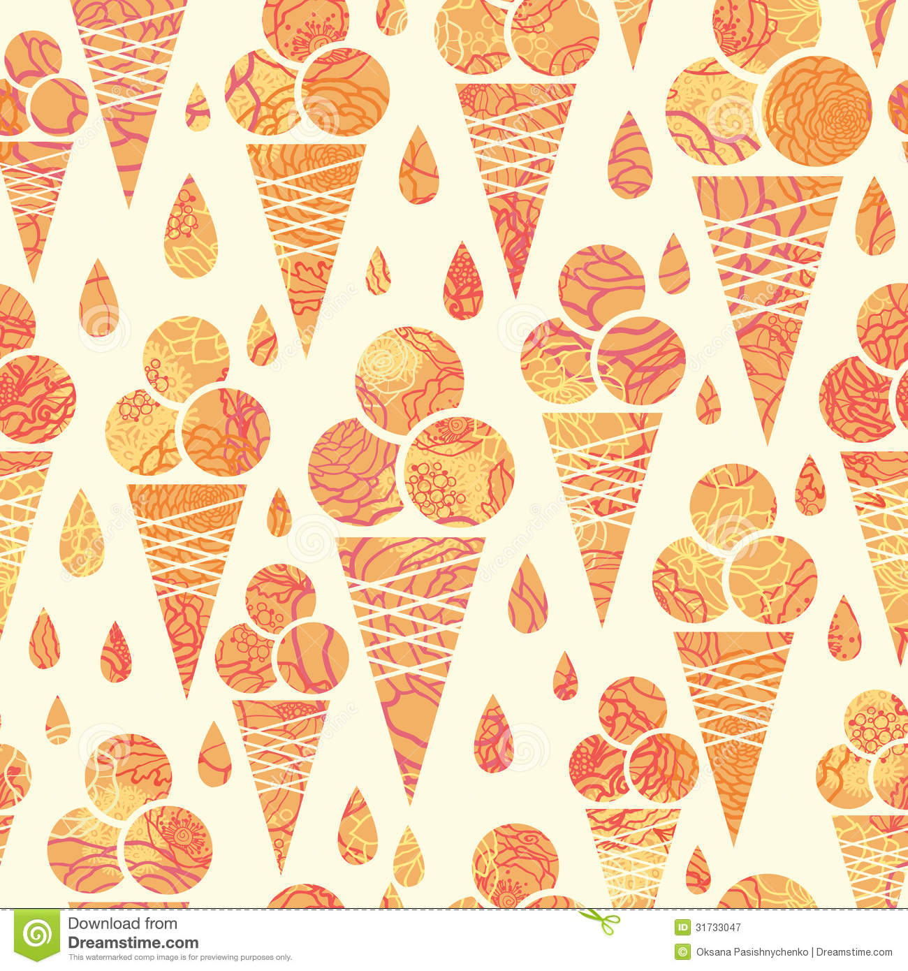 Pattern Cute Colorful Ice Cream Textiles Stock Vector: Summer Ice Cream Cones Seamless Pattern Background Stock