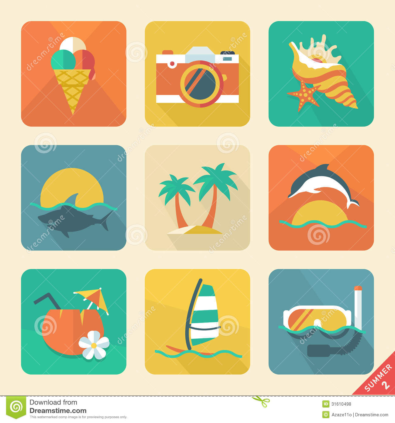 Summer Icon Set 2. Flat Design Trend. Retro Color. Vector