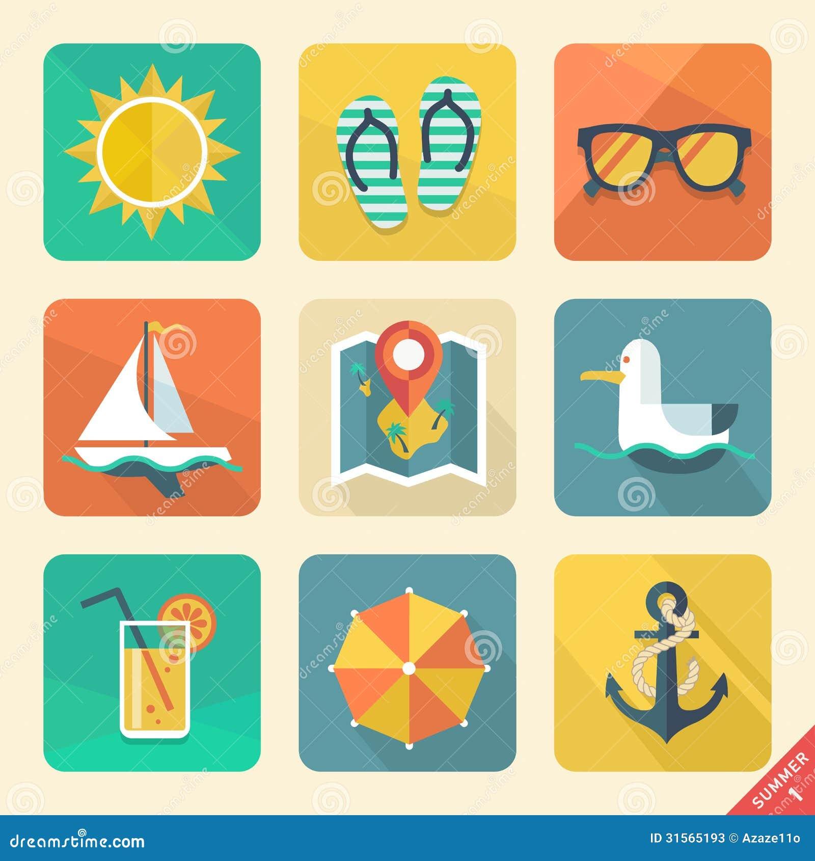 Summer Icons. Flat Design Trend. Retro Color. Vect Stock ...