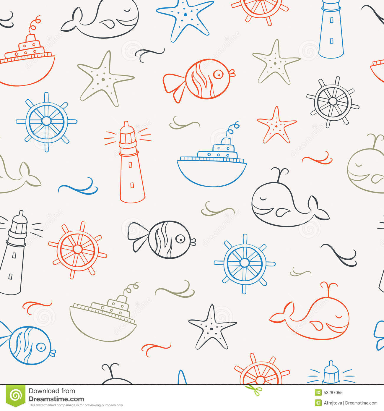 Summer Icons Seamless Pattern 2 Stock Vector Image 53267055