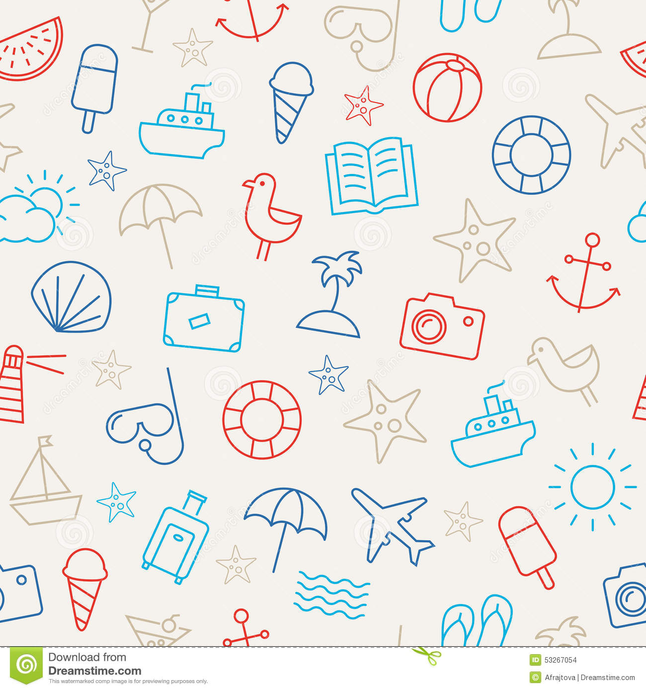 Summer Icons Seamless Pattern Stock Vector Illustration Seagull Beach Wallpaper
