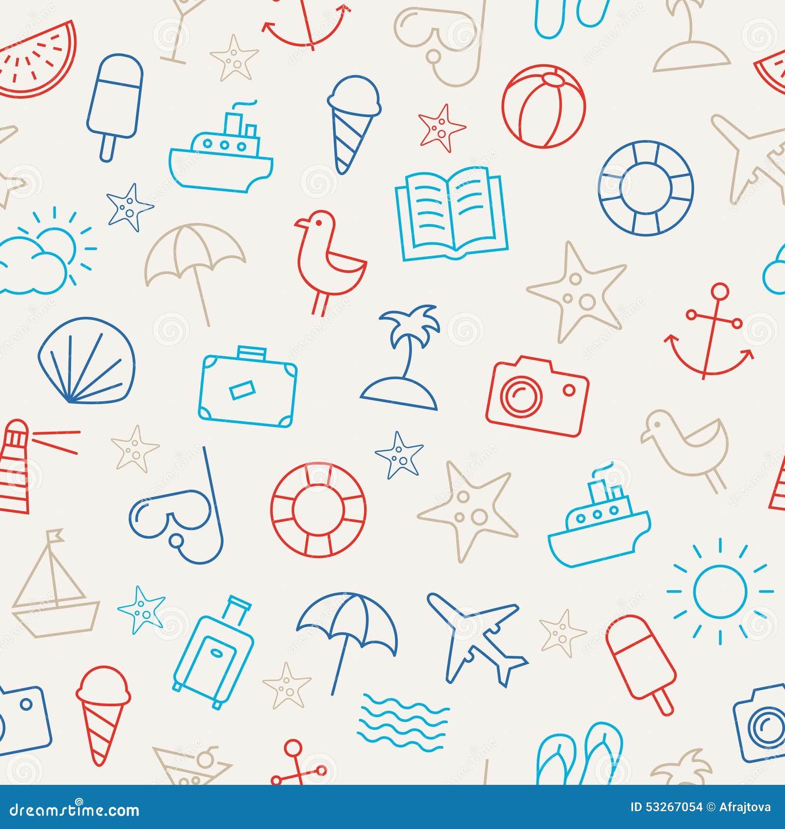 Summer Icons Seamless Pattern Stock Vector Illustration