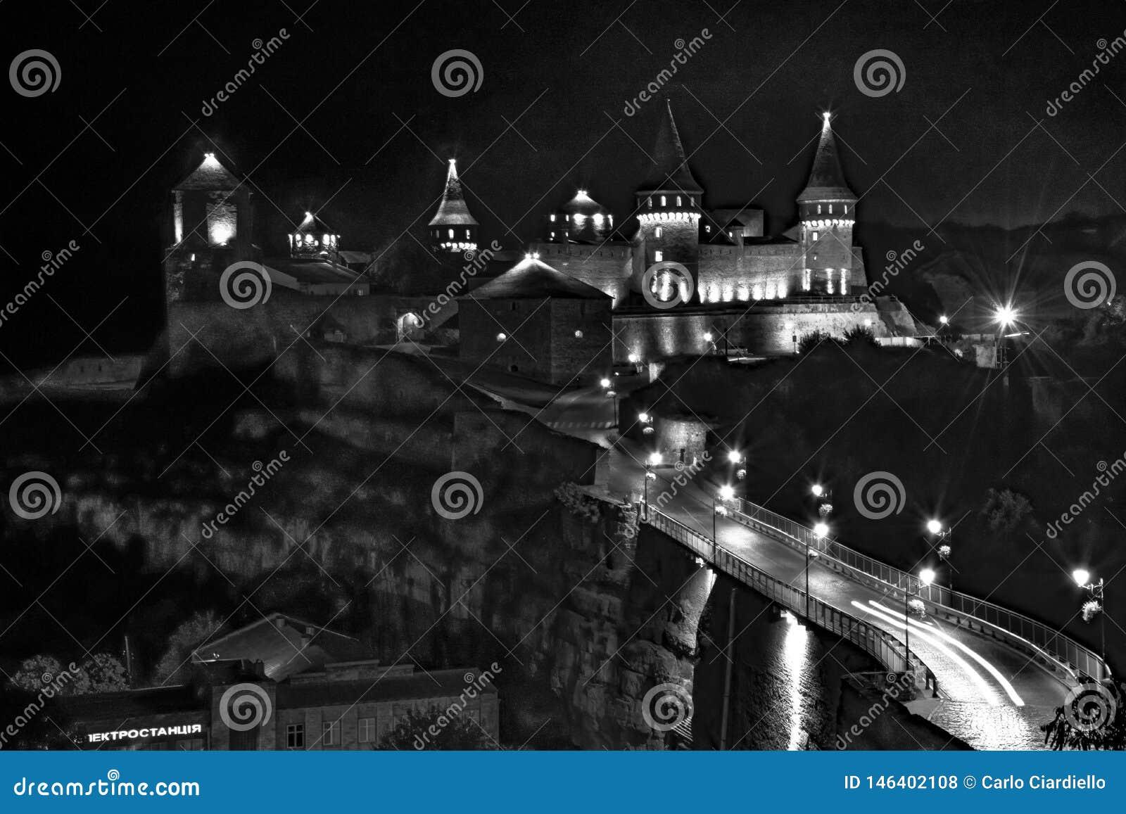 Kamianets-Podilskyi castele  night black and white
