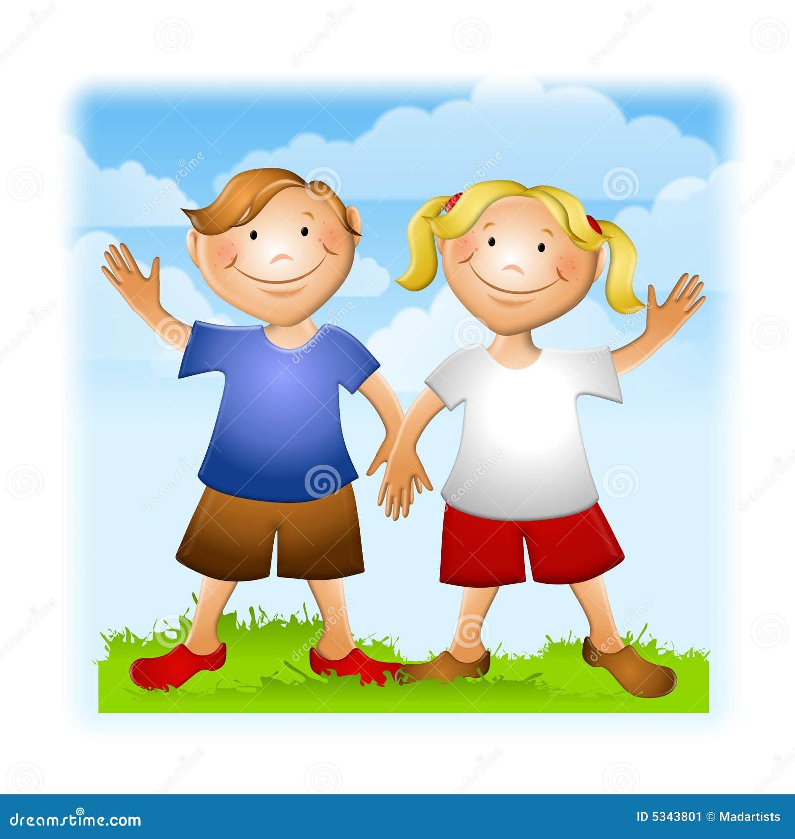 summer kids holding hands waving stock illustration