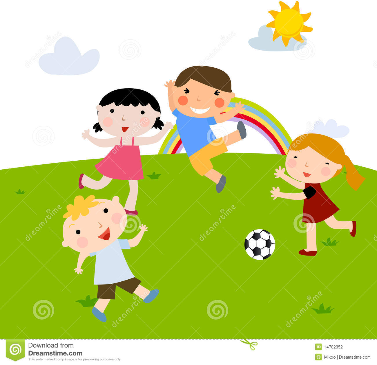 Summer Kids Playing Football Stock Photography - Image ...
