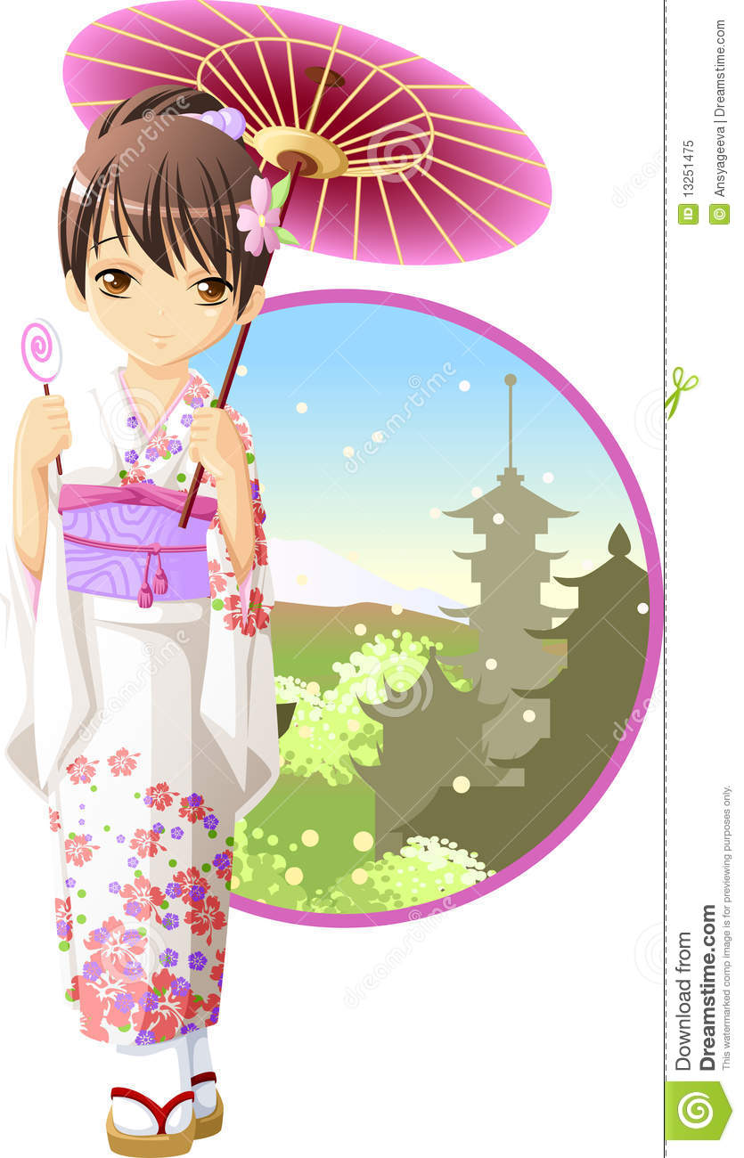 summer kimono girl royalty free stock photo