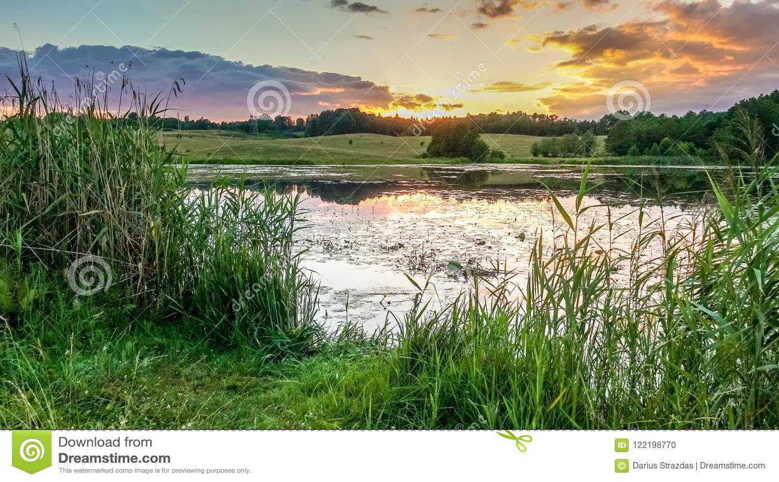 Summer lake at sunset