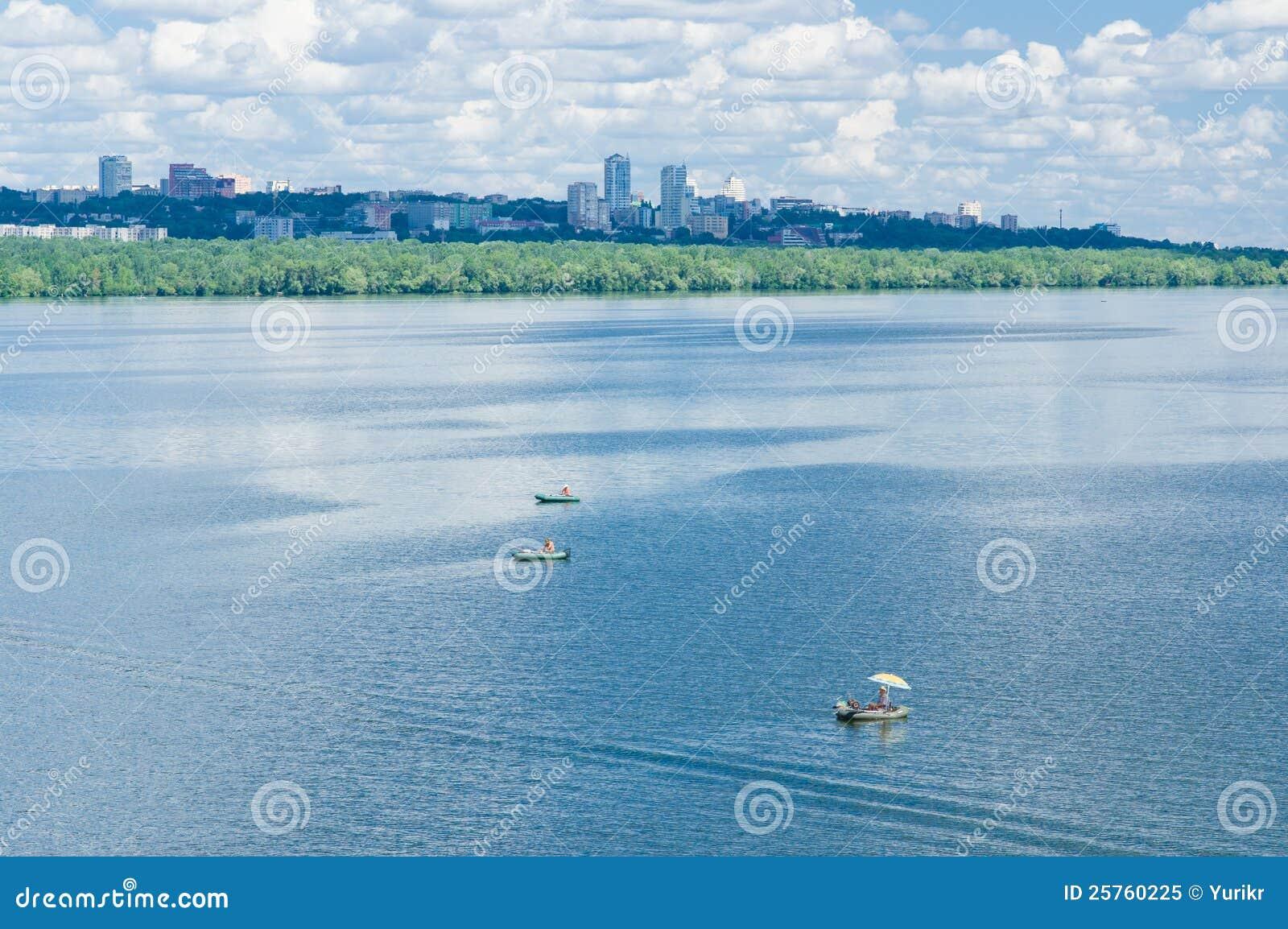 Summer landscape with big river Dnepr